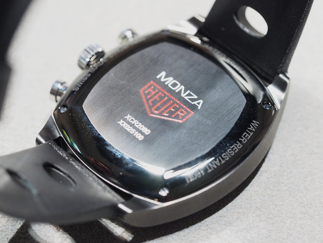 The screw down case back of the TAG Heuer Monza