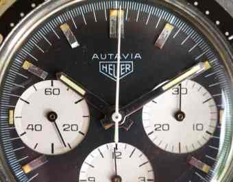 Heuer Autavia 2446 macro dial shot