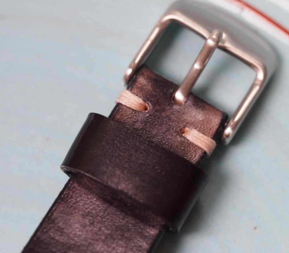 The BCatt watch strap keeper and standard buckle