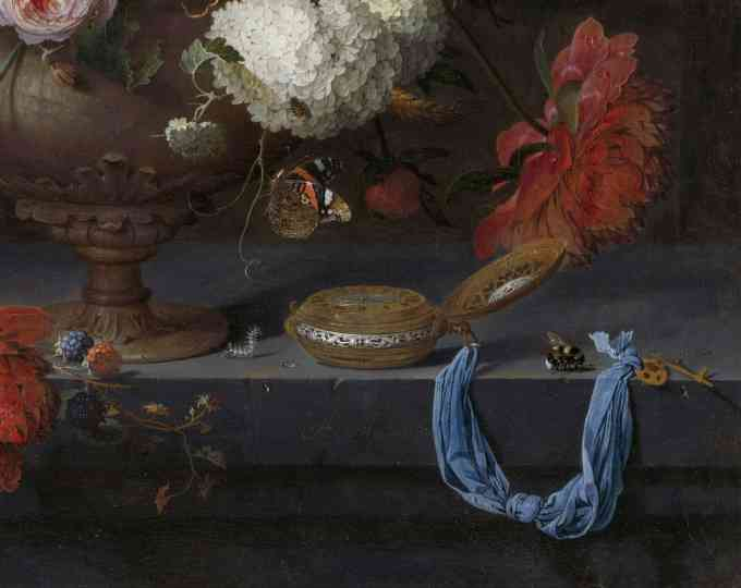 Detail of a still life with colorful flowers and a golden pocket watch, oil on canvas, Abraham Mignon, appr. 1660 - ca. 1679