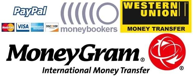 Western-Union, MoneyGram, Bank-Wire-Transfer