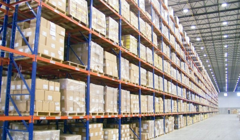 Frazier's Sentinel Selective Pallet Racking stores product eight levels high in this warehousing application.