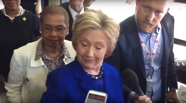 Hillary eyes closed