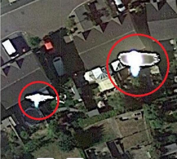 Google maps UFOs over neighborhood