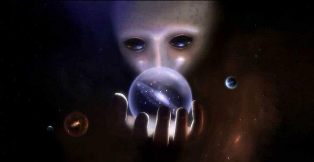 Alien holding galaxy