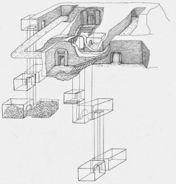 Sketch of tomb-of-Osiris