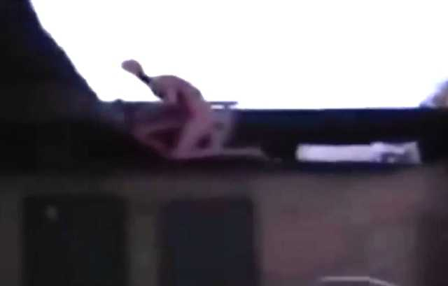 Alien humanoid on rooftop of Mexico
