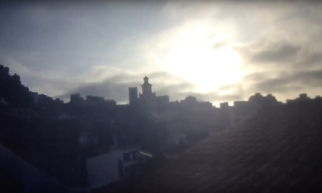 Strange sun flare flash recorded by webcam in Spain