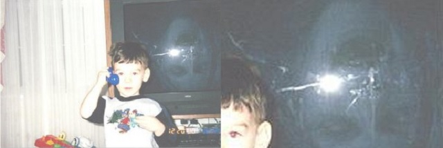 Boy standing next to spectre ghost in television