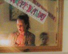 Ghost boy in mirror reflection at girls birthday party
