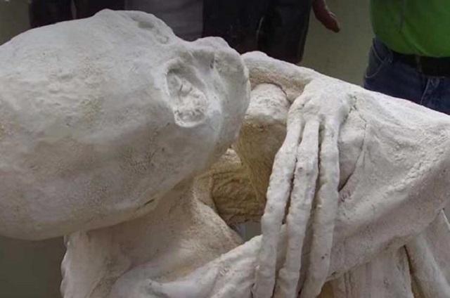 Mummified humanoid alien close up