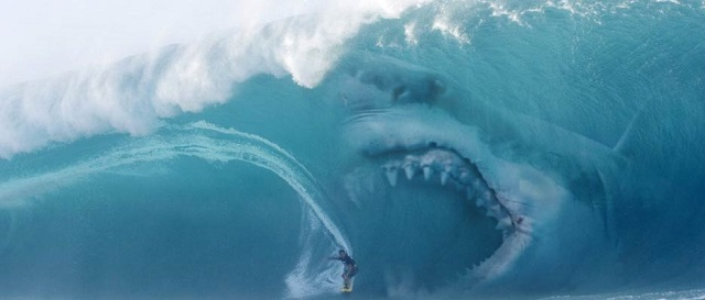 Megalodon after surfer