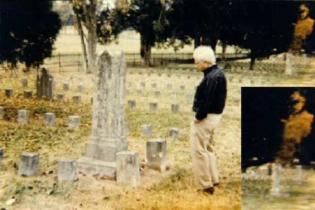 Confederate ghost in cemetery