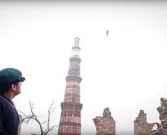 Flying Humanoid Over Qutub Minar in Delhi