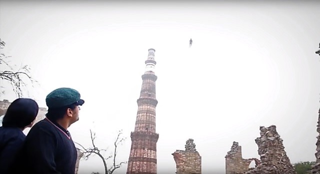 Flying Humanoid Over Qutub Minar in Delhi