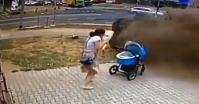 baby nearly hit