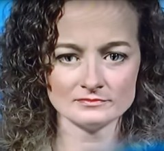 Alien reptilian woman shapeshifting on television