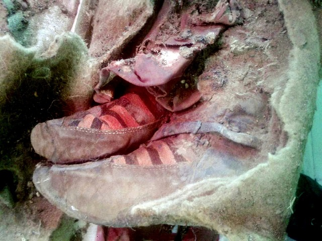 Mummy wearing Adidas type shoes found