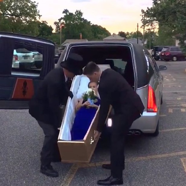 Girl Arrives In Coffin Prom