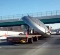 UFO Gets Hauled Down Highway Towards Area 51