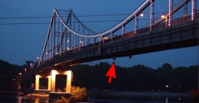Unidentified Humanoid Creature Crawls Underneath Ukraine Bridge