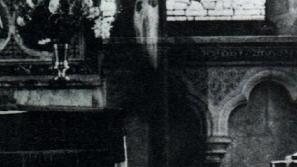 Closeup of Newby Church Ghost Monk
