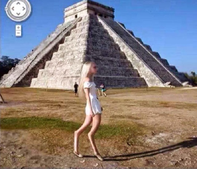 Google Earth Girl Mayan ruin Chichen Itza Mexico