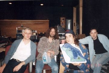 Mike Johnson, John Agnello & J Mascis in the studio.