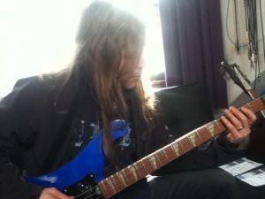 Dave recording bass tracks