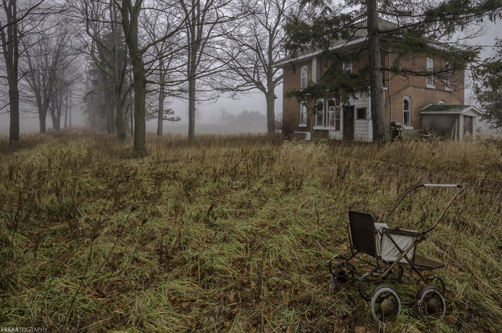 Abandoned photography on a foggy day in Ontario