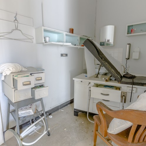 abandoned factory staff medical exam room