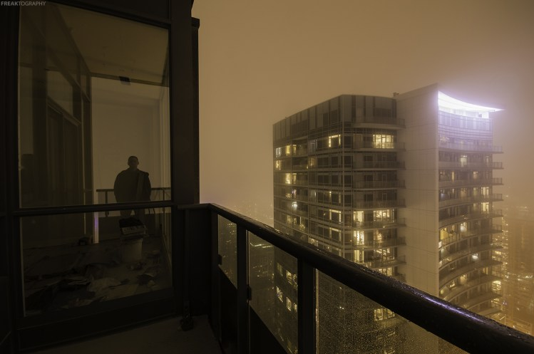 rooftopping self portrait fog