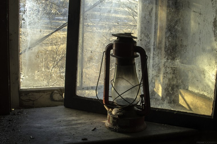A red lantern found in an abandoned house in Ontario Canada.