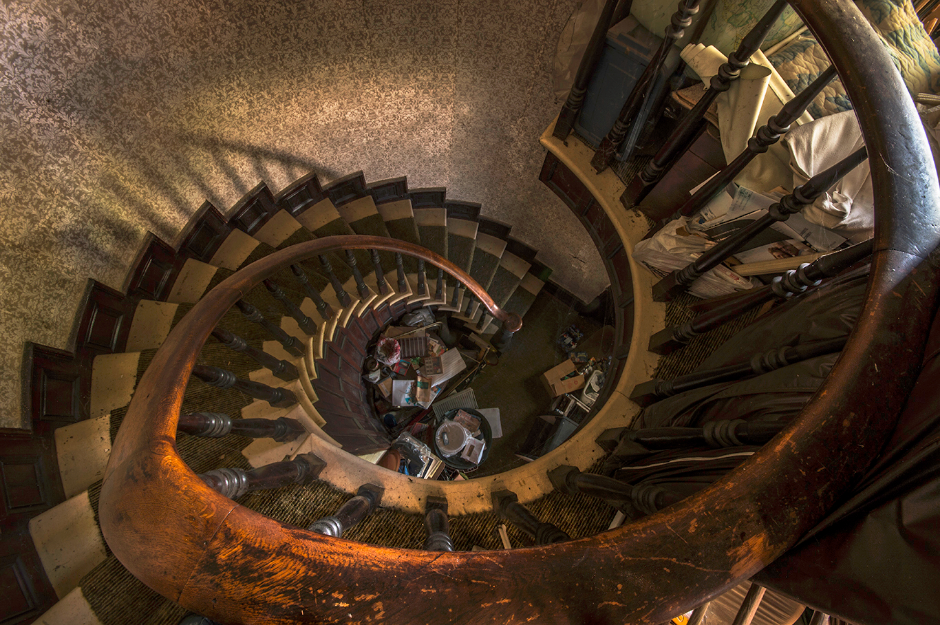 An abandoned home in Ontario that seemed to have been owned by a hoarder. This spiral staircase is what this home is famous for