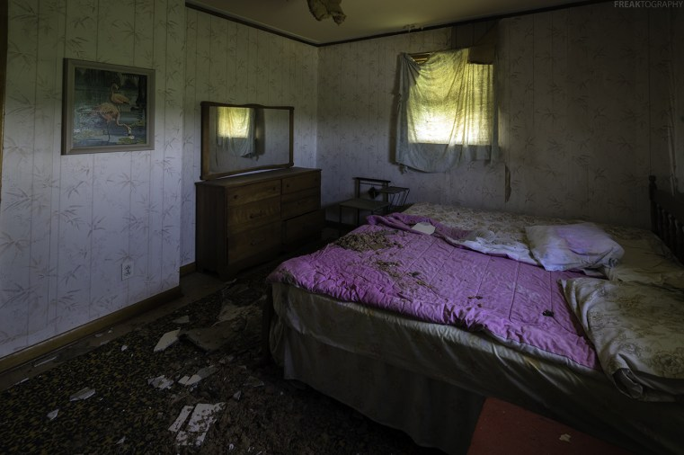 One of the more badly damaged rooms in this abandoned house