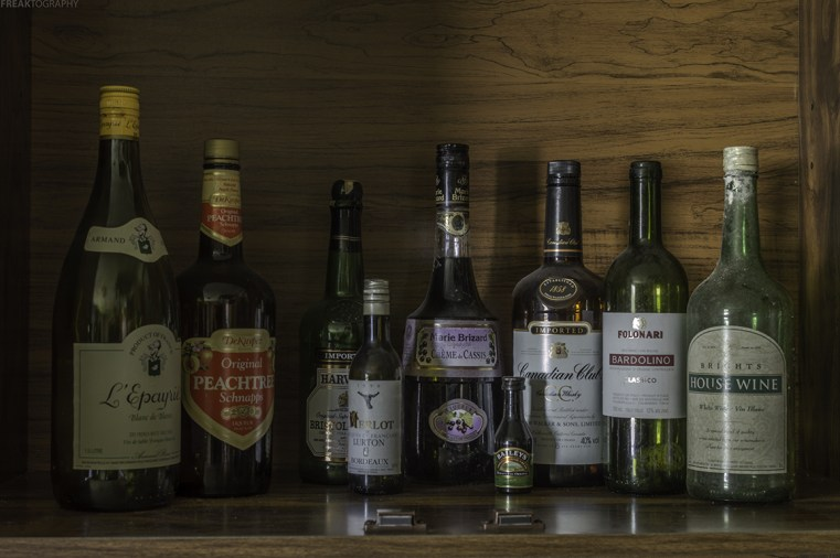 The liquor cabinet found well stocked on an abandoned ontario house