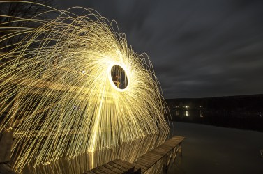 Spinning Steel Wool over Rushford Lake in New York