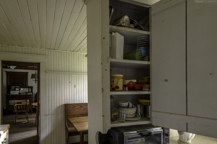 Kitchen in abandoned time capsule house