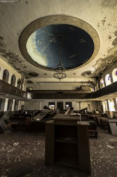 An abandoned church in Detroit, Michigan that is in very rough shape.