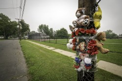 This memorial is on Sherman Street in Buffalo, New York for an Ohio man named Deon Smith. Deon was shot on Saturday June 6th at 4:30pm.