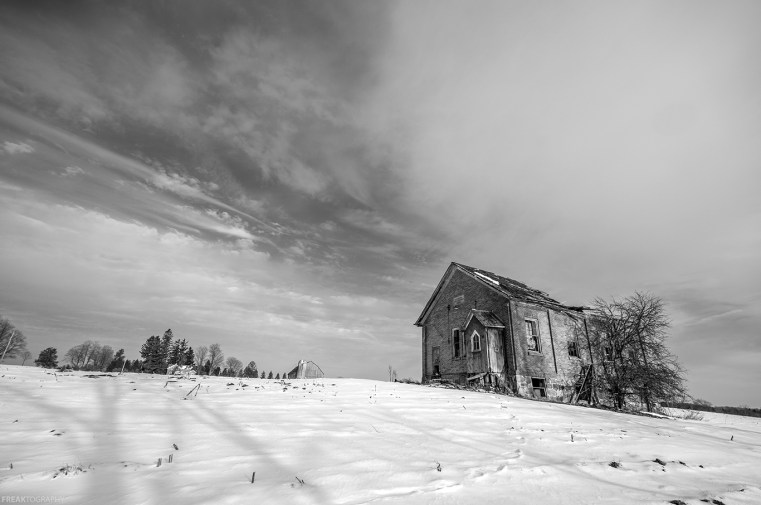 Abandoned Ontario schoolhouse black and white photography