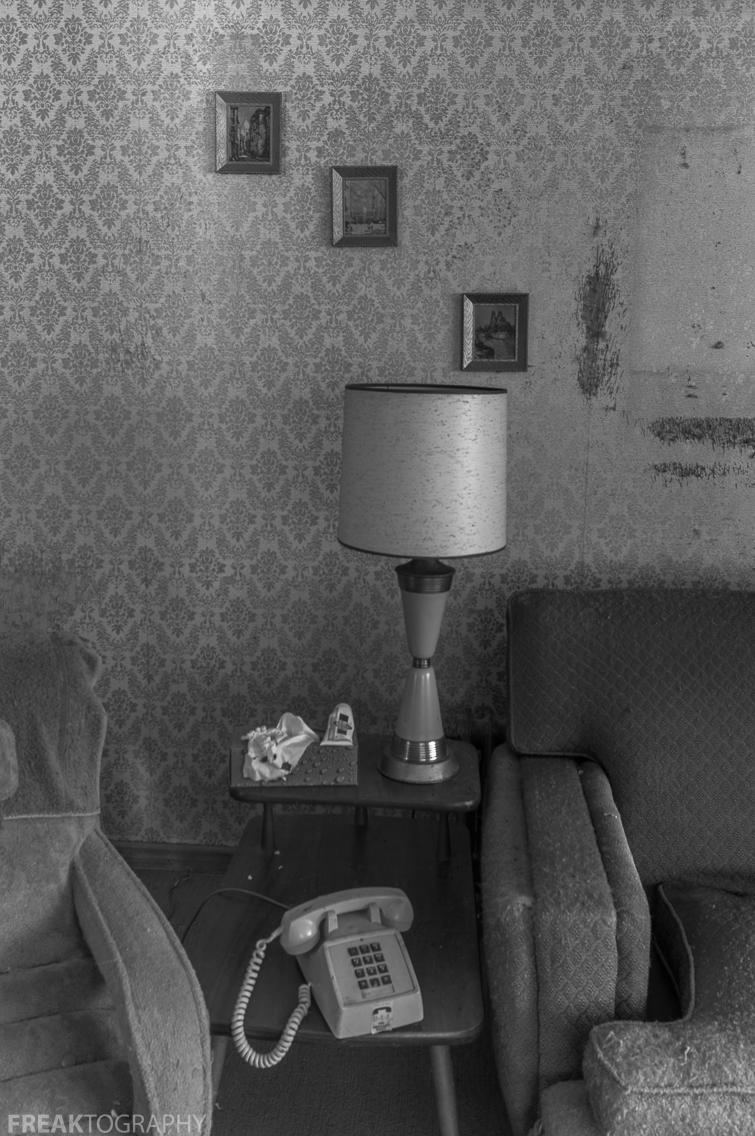 Freaktography, abandoned, abandoned photography, abandoned places, black and white, creepy, decay, derelict, haunted, haunted places, lamp, photography, telephone, urban exploration, urban exploration photography, urban explorer, urban exploring, wall frames, wallpaper
