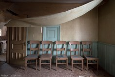 Freaktography, abandoned, abandoned photography, abandoned places, carpet, chairs, composition, creepy, decay, derelict, door, green, haunted, haunted places, photography, urban exploration, urban exploration photography, urban explorer, urban exploring, wallpaper