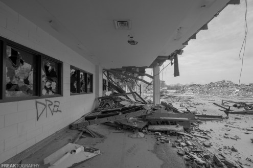 Freaktography, abandoned, abandoned photography, abandoned places, creepy, decay, demolition, derelict, form, haunted, haunted places, photography, pile, rubble, ruins, school, sky, urban exploration, urban exploration photography, urban explorer, urban exploring, vanishing point
