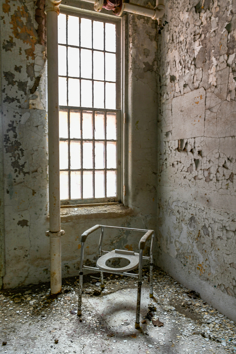 ABANDONED MENTAL INSTITUTION, MENTAL ASYLUM, Photography, URBAN EXPLORATION, WILLARD, WILLARD INSANE ASYLUM, abandoned, abandoned insane asylum, abandoned mental asylum, abandoned photography, abandoned places, commode, commode chair, creepy, decay, derelict, freaktography, haunted, haunted places, insane asylum, urban exploration photography, urban explorer, urban exploring, window