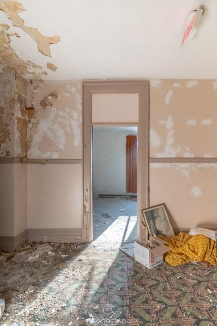 abandoned 1980s hotel door.