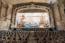 abandoned detroit cooley high school theatre stage front