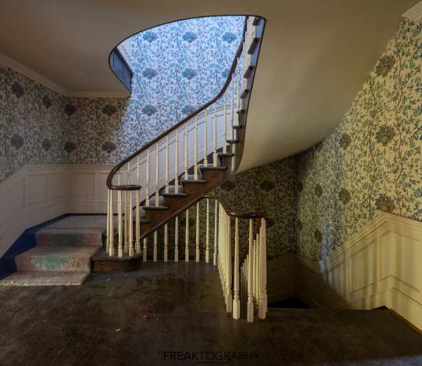 abandoned stone mansion