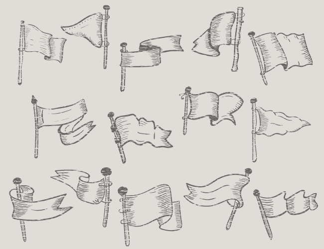 Vector Set of Hand Drawn Flags