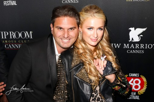 "Paris Hilton arrives at the VIP Room for her birthday. Paris Hilton fell in love with the Belgian designer Jérémy Urbain which has just launched its new brand ""Crazy Chihuahua"" Cannes, May 15, 2015"